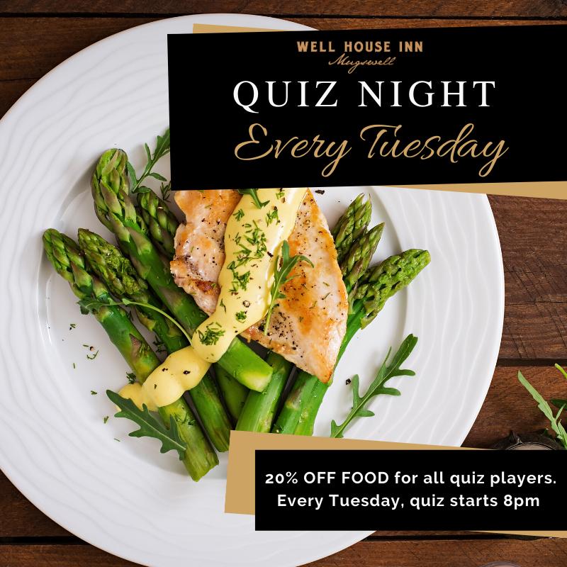Quiz & 20% Off Food Tuesdays